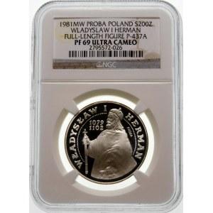 Próba 200 złotych 1981 Herman - srebro