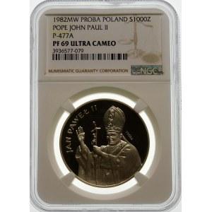 Próba 1000 złotych 1982 Jan Paweł II - srebro