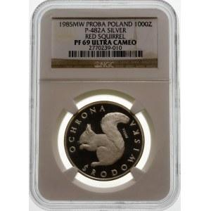 Próba 1000 złotych 1985 Wiewiórka - srebro