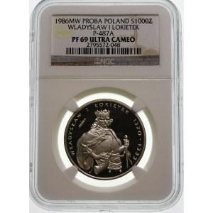 Próba 1000 złotych 1986 Łokietek - srebro
