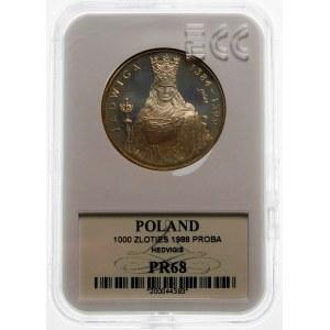 Próba 1000 złotych 1988 Jadwiga - srebro