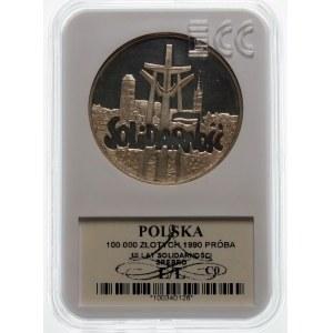100000 złotych 1990 Solidarność TYP D - srebro