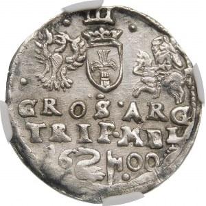 Zygmunt III Waza, Trojak 1600, Wilno – pełna data rozdzielona herbem Łabędź i znakiem hak