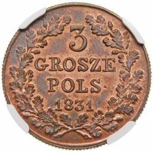 Powstanie Listopadowe, 3 grosze 1831 – łapy Orła proste – piękna