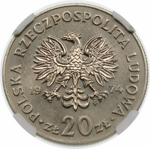 Próba 20 złotych 1974 Nowotko - nikiel