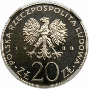 Próba 20 złotych 1980 Olimpiada, znicz - nikiel