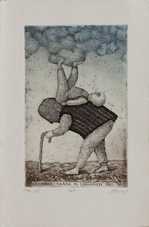 Stasys EIDRIGEVICIUS (ur. 1949), Ex Libris – Ekslibris Claes G. Lindroth, 1985