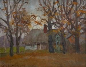 Jerzy GNATOWSKI (1928-2012), Pejzaż jesienny z chatą, 1997