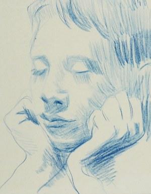 Stanisław Kamocki (1875-1944), Głowa chłopca z zamkniętymi oczami, wsparta na dłoniach