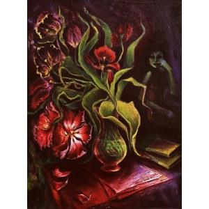 Katarzyna Tchórz (ur. 1986), Autoportret z kwiatami, z cyklu: ''Czarna wiosna