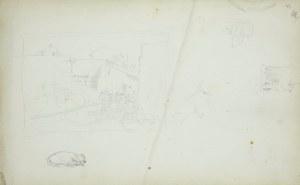 Stanisław Chlebowski (1835-1884), Miniaturowy zarys sceny rodzajowej, szkic śpiącego psa i szkice konia