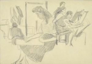 Stanisław Kamocki (1875-1944), W pracowni - lekcja rysunku, III 1941 (?)