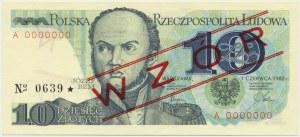10 złotych 1982 - WZÓR A 0000000 No.0639