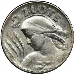 Kobieta i kłosy, 2 złote Londyn 1925 - kropka po dacie