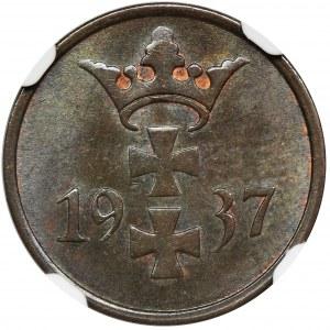 Free City of Danzig, 1 pfennig 1937 - NGC MS64 BN