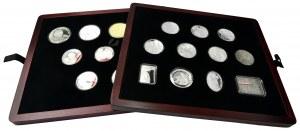 Zestaw, mix monet polskich patriotycznych (20 szt.) w drewnianym pudełku - poszukiwane typy