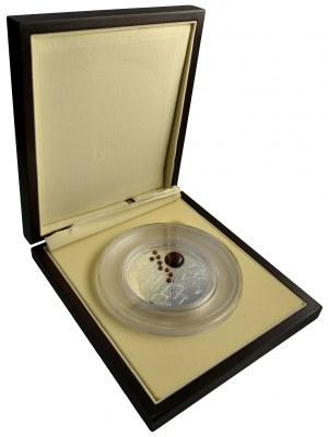Szlak Bursztynowy 100 dolarów 2011 - 400 g Ag 999+ 9 bursztynów w dedykowanym pudełku