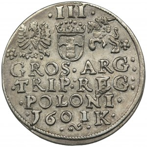 Sigismund III Vasa, 3 Groschen Krakau 1601 - left head