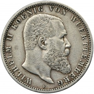 Niemcy, Wirtembergia, Wilhelm II, 5 marek Stuttgart 1904 F