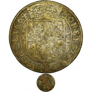 Jan II Kazimierz, Ort Kraków 1664 AT - Ślepowron w prawo - RZADSZY