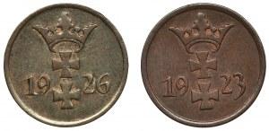 Zestaw, Wolne Miasto Gdańsk, 1 fenig 1923 i 1926 (2 szt.)