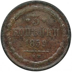 3 kopiejki Warszawa 1859 BM - RZADKIE