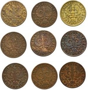 Zestaw, 5 groszy (9 szt.) - w tym rzadkie 5 groszy 1934