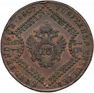 Austria, Franciszek II, 15 Krajcarów Kremnica 1807 B