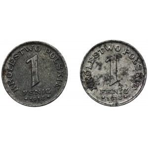 Zestaw, Królestwo Polskie, 1 fenig 1918 (2 szt.)