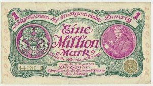 Danzig, 1 milion mark 08 August 1923 - no. 5 digit series with ❊ rotated