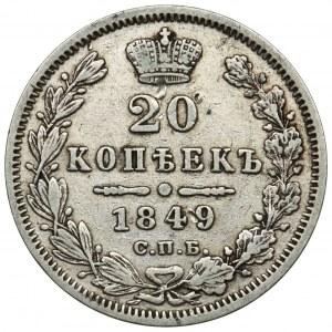 Russia, Nicholas I, 20 Kopeks Petersburg 1849 СПБ ПА