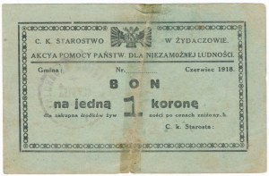 Żydaczów, 1 korona 1918