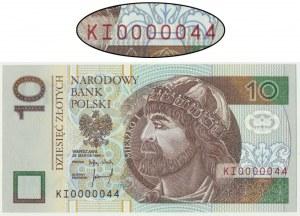 10 złotych 1994 - KI 0000044 - niski dwucyfrowy numer seryjny