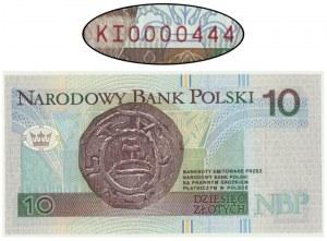 10 złotych 1994 - KI 0000444 - niski numer seryjny