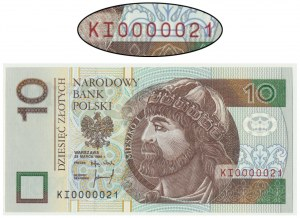 10 złotych 1994 - KI 0000021 - niski dwucyfrowy numer seryjny