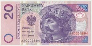 20 złotych 1994 - AA 0003894 - niski numer