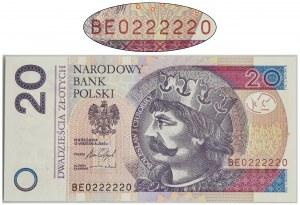 20 złotych 2016 - BE - piękny numer radarowy