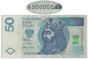 50 złotych 2012 - A0 00000048 - niski numer seryjny