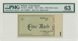 1 mark 1940 A series - 6 digit series - PMG 63