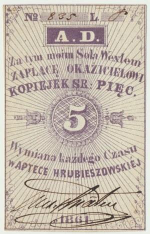 Apteka Hrubieszowska, 5 kopiejek srebrem 1861 - odręczny podpis