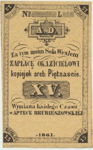 Apteka Hrubieszowska, 15 kopiejek srebrem 1861 - blankiet