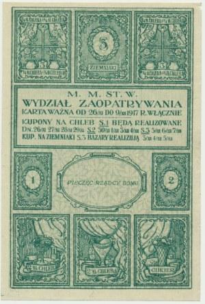 Warszawa, kartka żywnościowa na chleb 1917