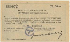 Warszawa, Świadectwo wykonania obowiązku kontrybucyjnego o wartości 30 zł 1944