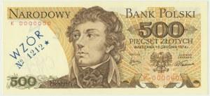 500 złotych 1974 - WZÓR K 0000000 No.1212 -