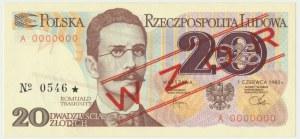 20 złotych 1982 - WZÓR A 0000000 No.0546 -