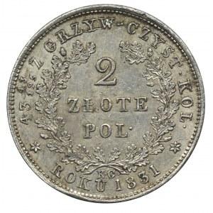 Powstanie Listopadowe, 2 złote Warszawa 1831 KG - bez pochwy