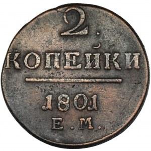 Rosja, Paweł I, 2 kopiejki Jekaterinburg 1801 EM