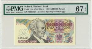 2 miliony złotych 1992 - A - Konstytucyjy - PMG 67 EPQ