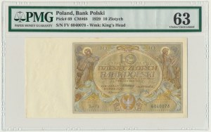 10 złotych 1929 - Ser.FV. - PMG 63
