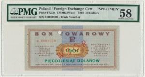 Pewex, 50 dolarów 1969 - WZÓR Ei 0000000 - PMG 58